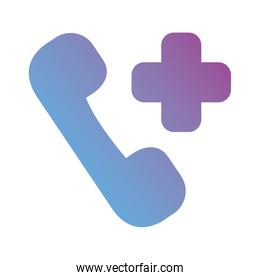 medical cross with telephone gradient silhouette style