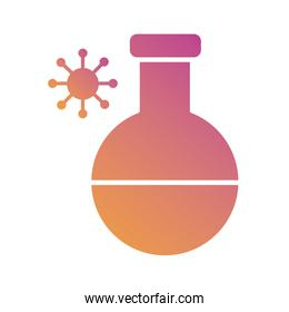 medical test flask laboratory with covid19 gradient silhouette style