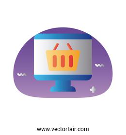 shopping basket in desktop degraded style icon