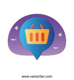 shopping basket in pin location degraded style icon