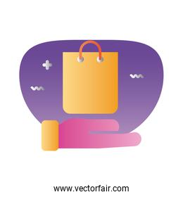 shopping bag paper degraded style icon