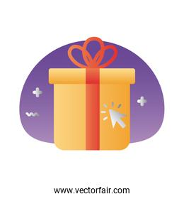 gift box present with mouse arrow degraded style
