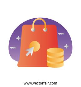 shopping bag with arrow mouse and coins degraded style
