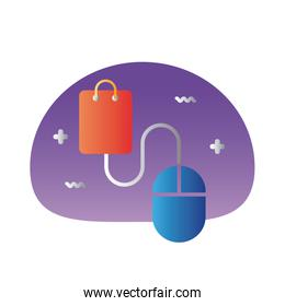 shopping bag paper with mouse degraded style icon