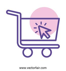 shopping cart trolley with arrow mouse line style icon