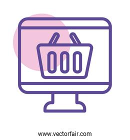shopping basket in desktop line style icon