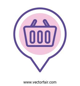 shopping basket in pin location line style icon