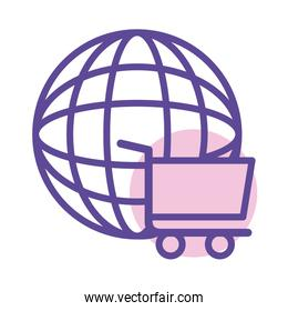shopping cart trolley in sphere browser line style icon