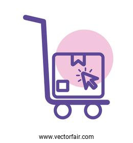 cart with box delivery and cursor line style icon