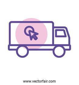 delivery service truck and mouse cursor line style
