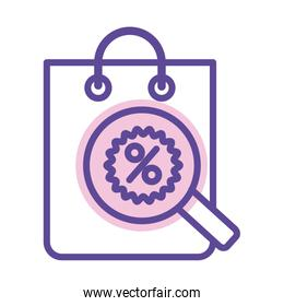 shopping bag with percent symbol and magnifyng glass line style