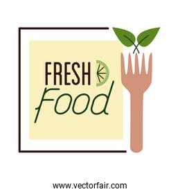 organic fresh food lettering flat style icon