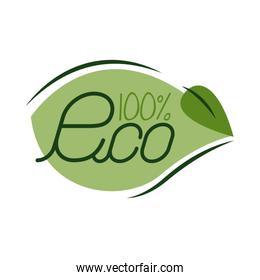 100 percent eco lettering flat style icon