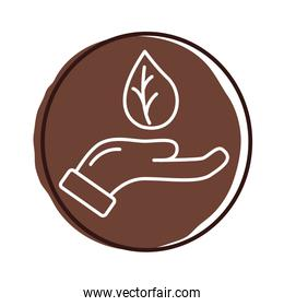 hand with leaf plant organic block style icon