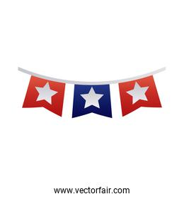 garlands with stars 4 de july degraded style