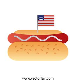 delicious sandwish with usa flag degraded style