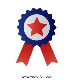 medal with ribbon and star degraded style
