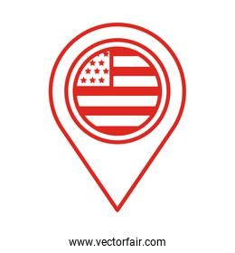 pin location with usa flag line style
