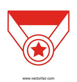 medal with ribbon and star line style