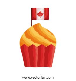 cupcake with canada flag flat style