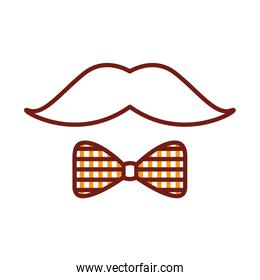 mustache and bowtie line style icon