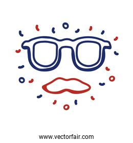 glasses and mustache hipster line style