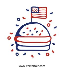 hamburger with usa flag line style icon
