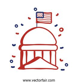 government cupule with usa flag line style