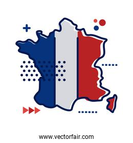 france flag and map flat style icon