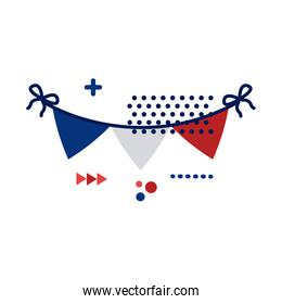 garlands with france flag flat style icon