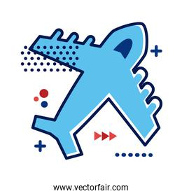 airplane flying flat style icon