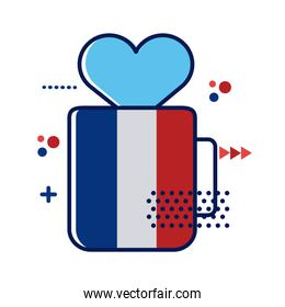 france flag in mug with heart flat style