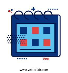 calendar with france flag colors flat style