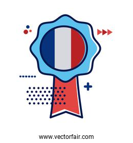 medal with france flag flat style icon