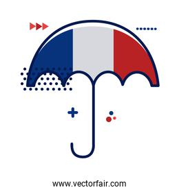 umbrella with france flag flat style