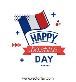 france flag and bastille day lettering flat style