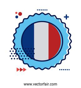 lace with france flag flat style icon