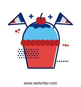 cupcake with france flags flat style