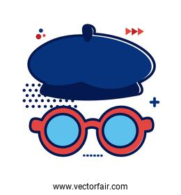 French style beret and glasses flat style