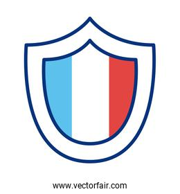 shield with france flag line style