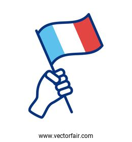 hand with france flag line style icon