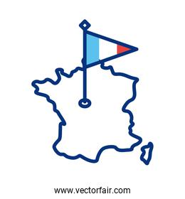 france flag and map line style icon