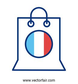 shopping bag with france flag line style