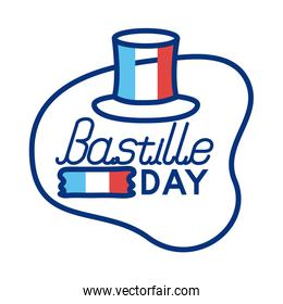tophat with france flag and bastille lettering line style
