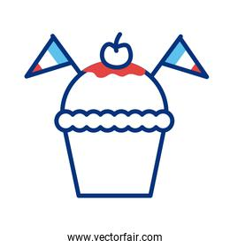 cupcake with france flags line style