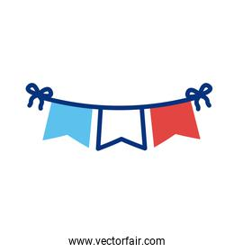 garlands with france flag line style
