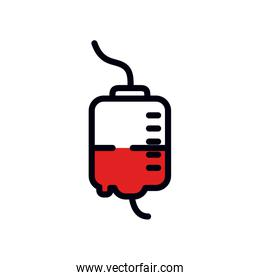 blood iv bag icon, line and fill style