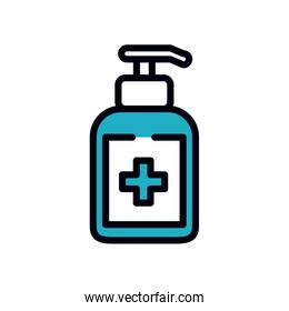 medicine concept, antibacterial dispenser bottle icon, line and fill style