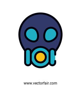medicine concept, nuclear protection mask icon, line and fill style