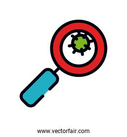 medicine concept, magnifying glass and virus icon, line and fill style